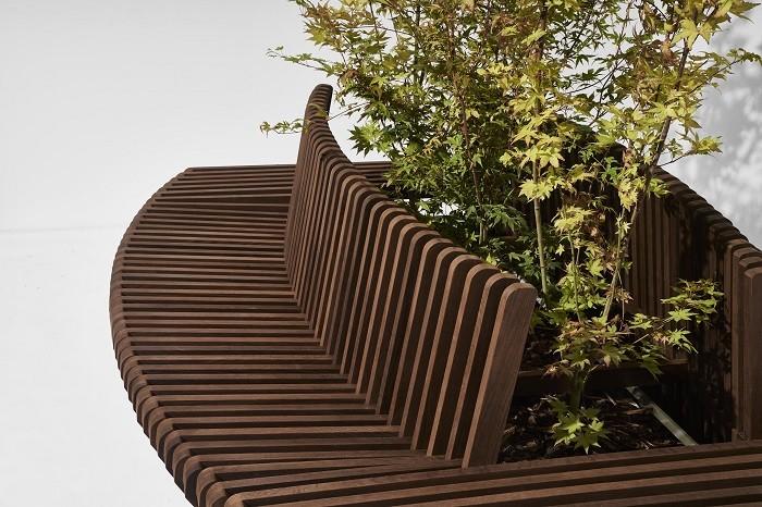 banco de madera con vegetación en medio