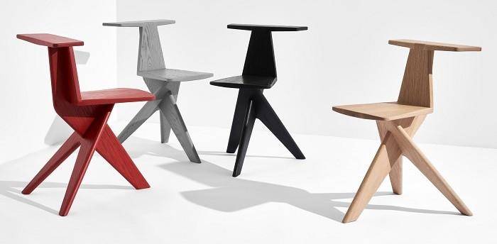 diseño de sillas en diferentes colores de madera