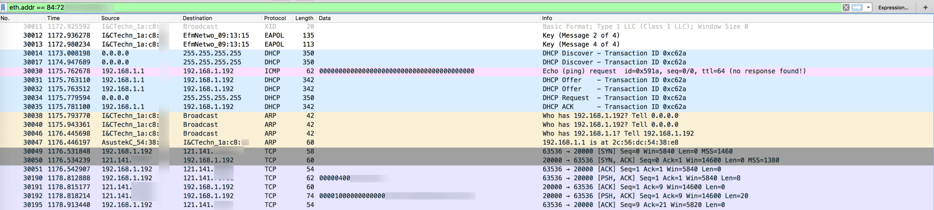 초기 연결 이후 패킷 흐름