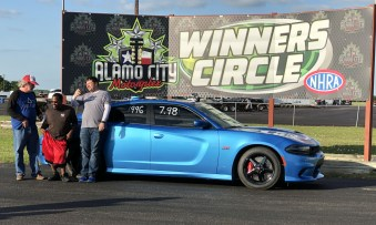 Mike Volkmann and friends in the Winner Circle at Alamo City Motorplex. (MoparInsiders).