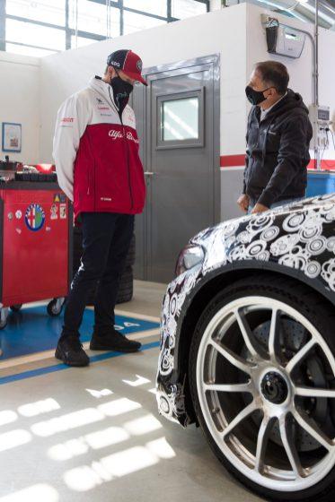 Kimi Räikkönen with the 2021 Alfa Romeo Giulia GTAm Testing at Balocco. (Alfa Romeo).