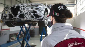 Antonio Giovinazzi with the 2021 Alfa Romeo Giulia GTAm Testing at Balocco. (Alfa Romeo).