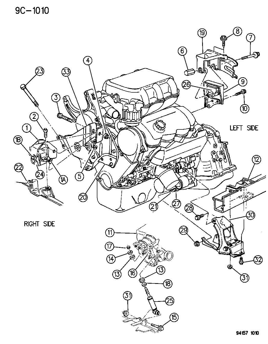 Plymouth Sundance Engine Mounting 3 0 L Engine