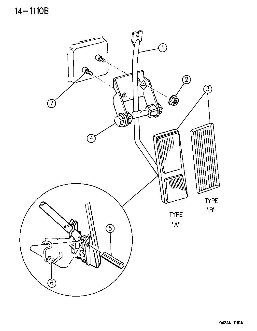 Dodge Dakota Accelerator Pedal N B Body