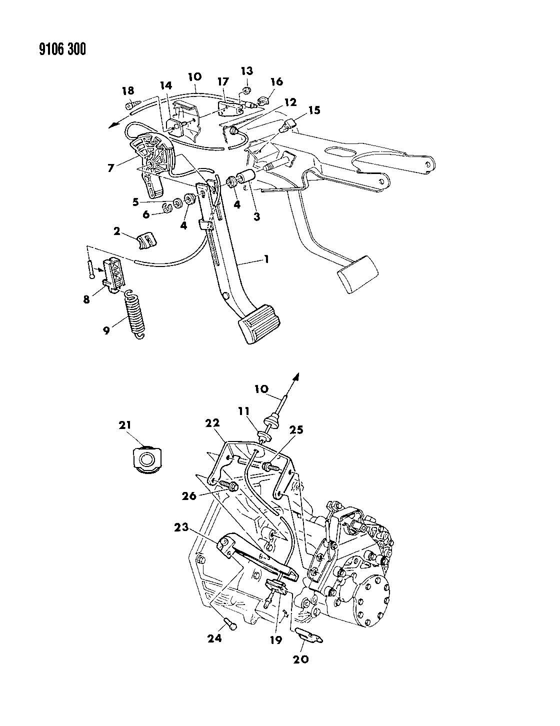 Chrysler Clutch Pedal And Linkage 2 2l 16 Valve Eng Getrag 5 Speed Q Body