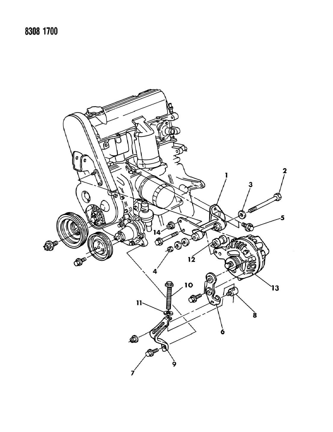 Dodge Dakota Alternator Mtg 2 2 Amp 2 5 Engine