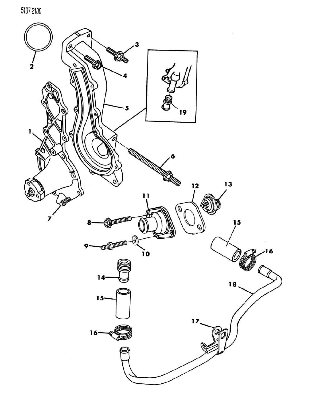 Chrysler Lebaron Water Pump And Related Parts 2 2l Engine
