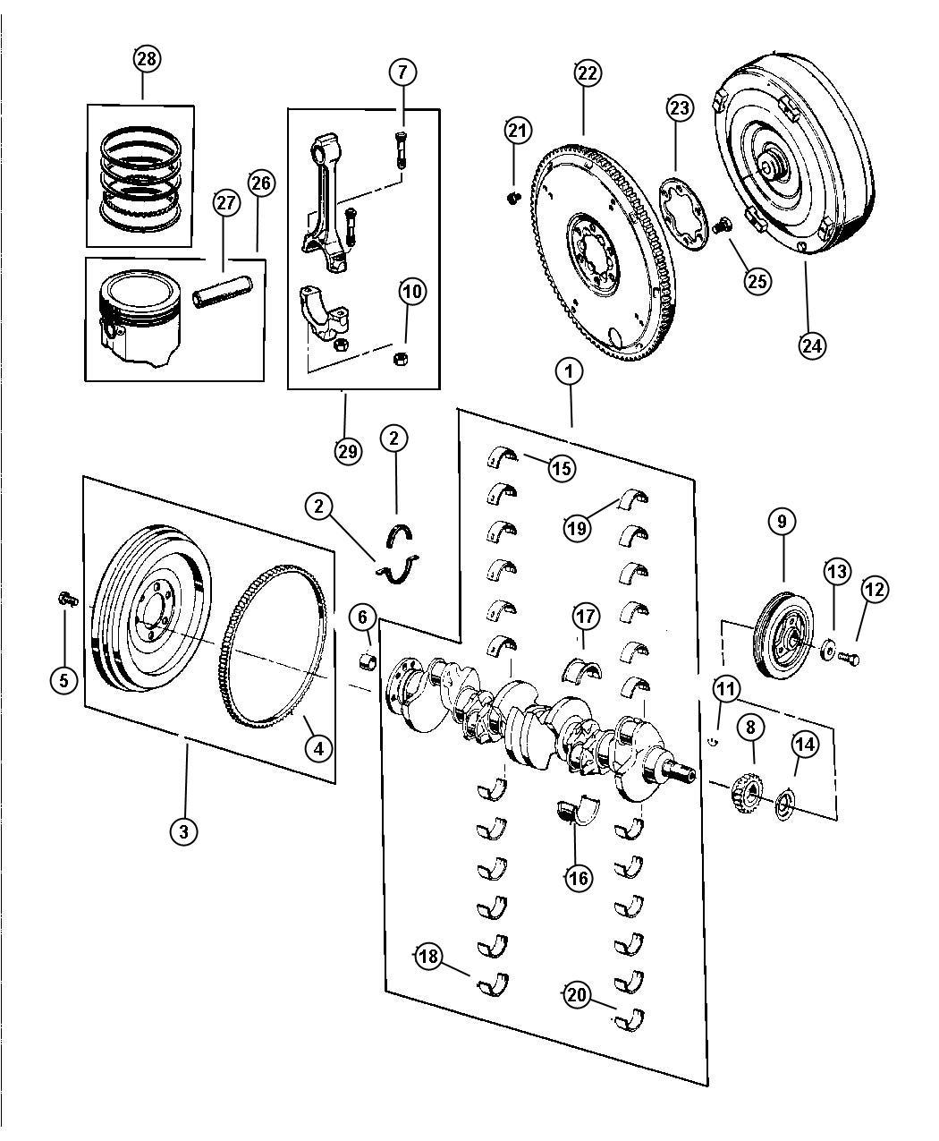 Jeep Wrangler Crankshaft Piston And Torque Converter