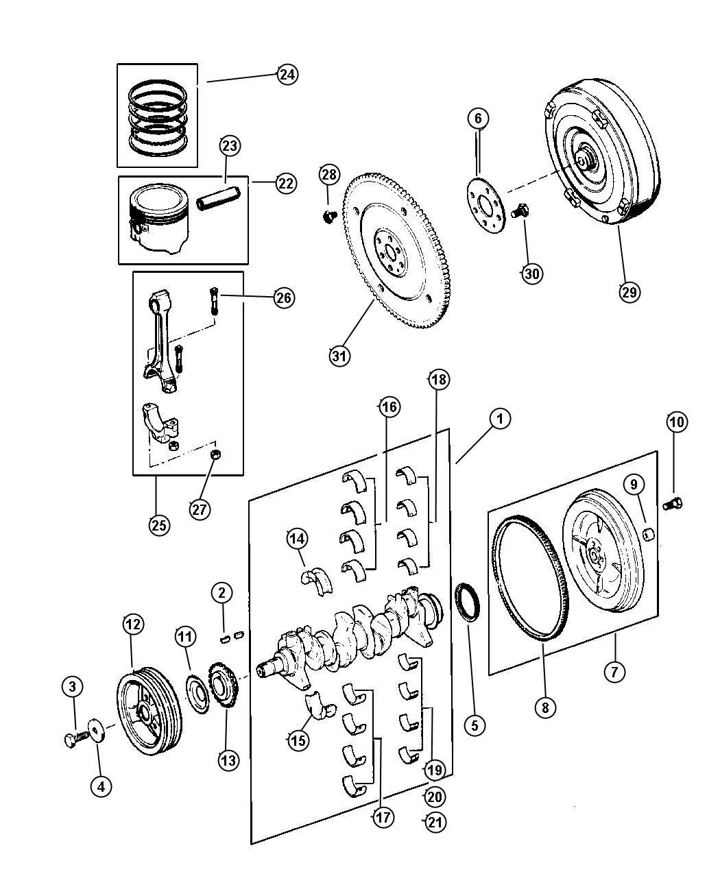 Jeep Wrangler Crankshaft Piston And Torque Converter 2 5