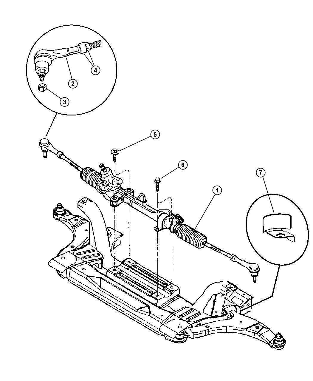 Dodge Neon Gear Rack And Pinion And Attaching Parts