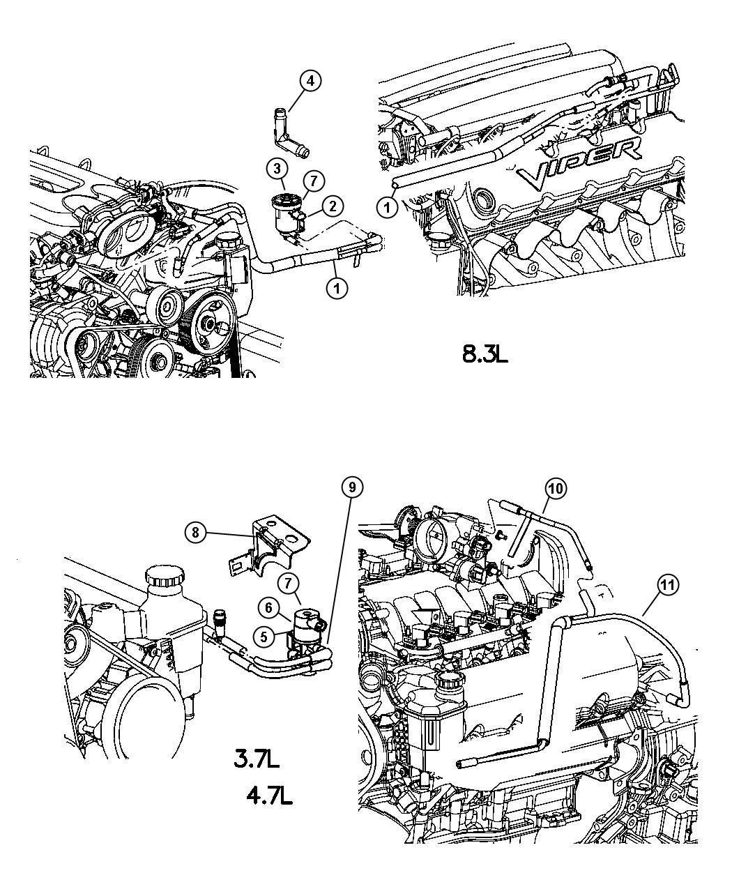 Dodge Ram Emission Control Vacuum Harness 3 7l