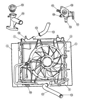 Fan Module Radiator Cooling PT Cruiser 0405 Mopar