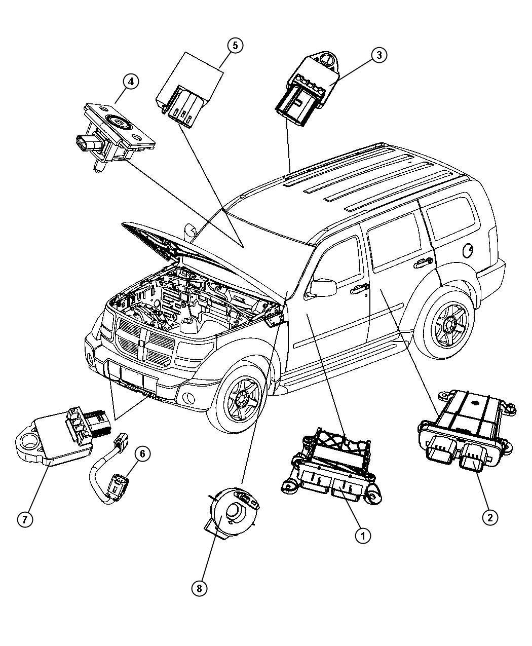 Dodge Nitro Air Bag Modules Impact Sensors And Clock