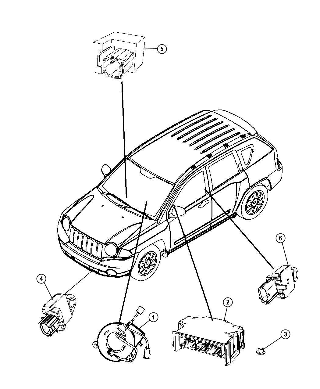 Dodge Caliber Air Bag Modules Impact Sensors And Clock Spring