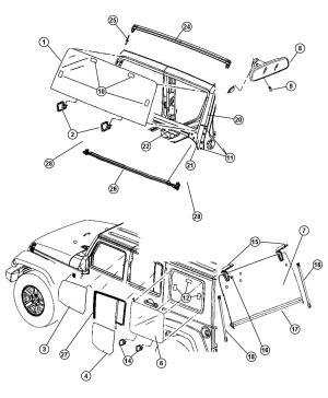2012 Jeep Wrangler Glass, Glass Hardware & Interior Mirror