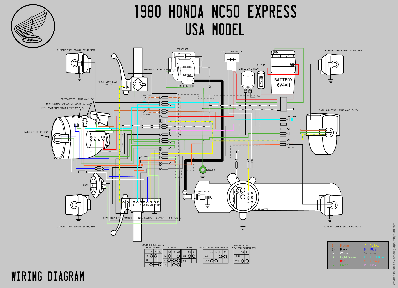 1980 Honda NC50 Wiring Diagram