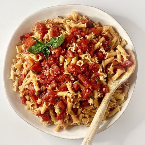Campanella Pasta with Raw Tomato Sauce