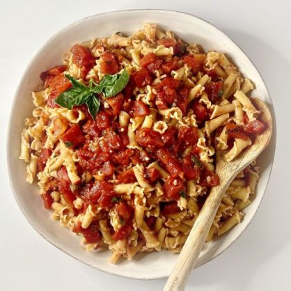 Campanella shaped Pasta with Raw Tomato Sauce