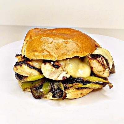 Salt 'n Vinegar Chicken Cubanelle on a Brioche Bun.