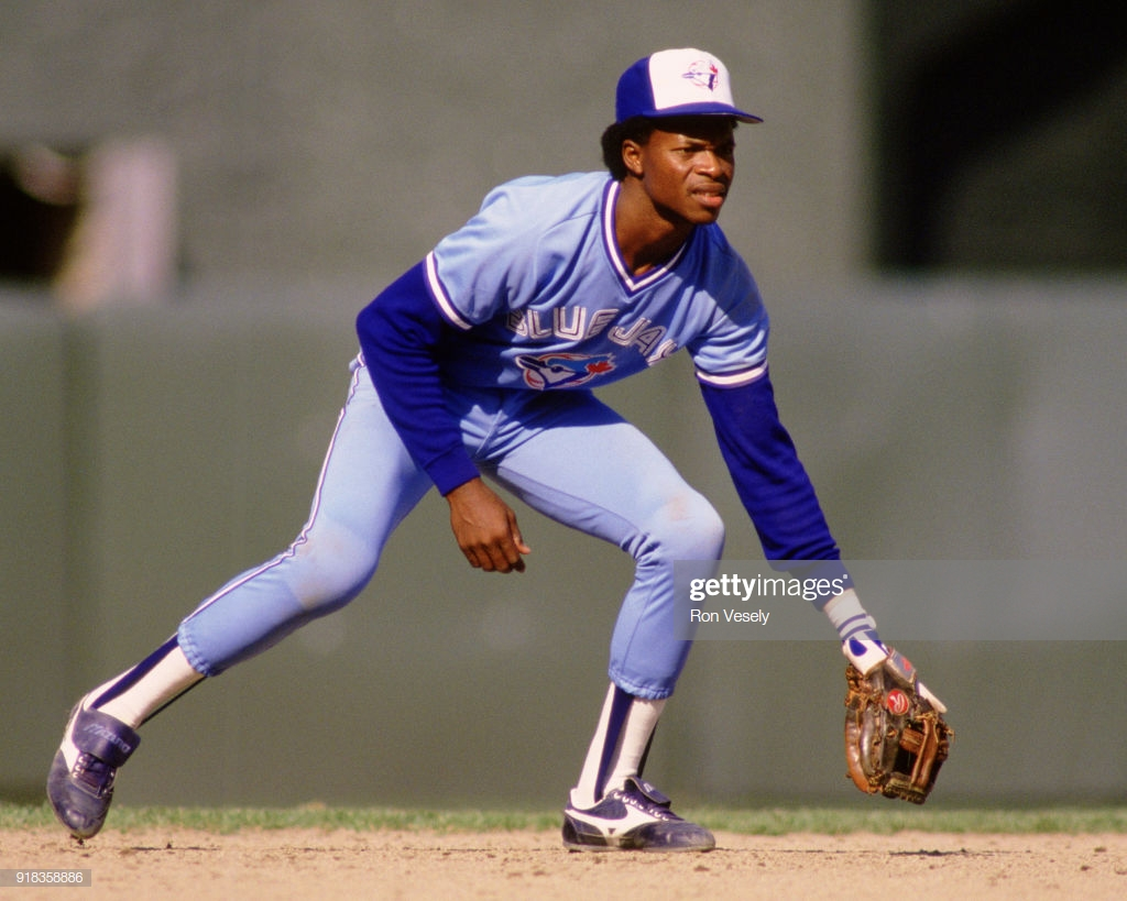 CHICAGO - 1988: Tony Fernandez of the Toronto Blue Jays fields during an MLB game against the Chicago White Sox at Comiskey Park in Chicago, Illinois during the 1988 season. (Photo by Ron Vesely/MLB Photos via Getty Images)