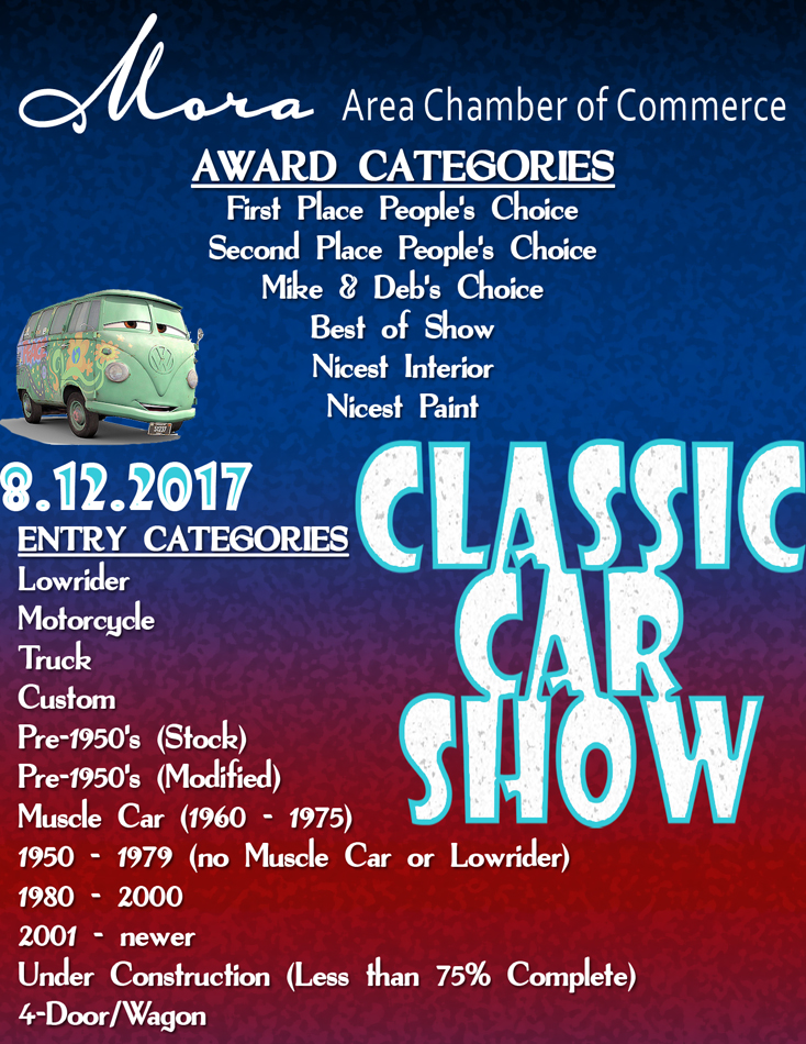 Mora Area Chamber Car Show Information Area Chamber Of Commerce - Car show award categories