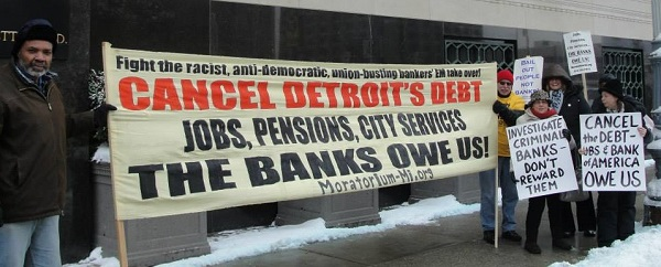 Detroiters  protesting outside of U.S. Bankruptcy Court