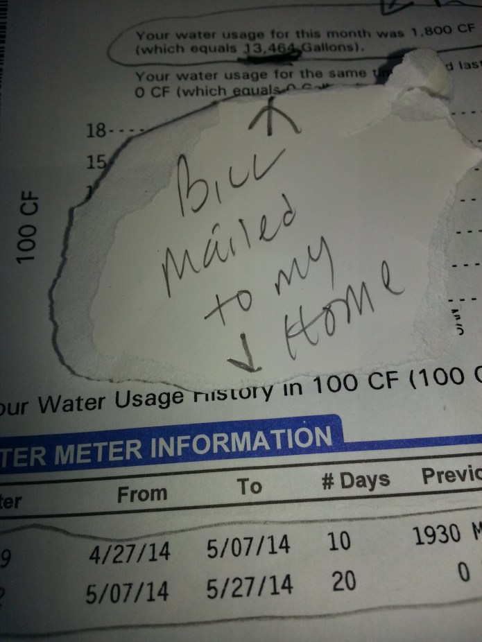 Bill sent to the home.