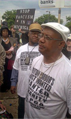 "Rev. Pinkney, right, at ""Occupy the PGA"" protest, May 2012."