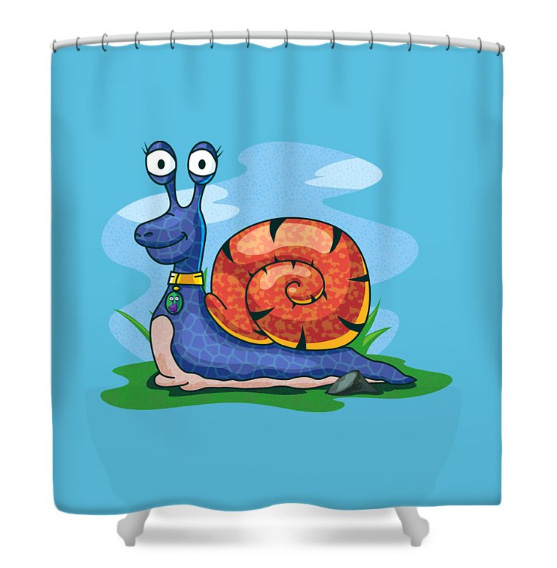 Larry the Snail Shower Curtain