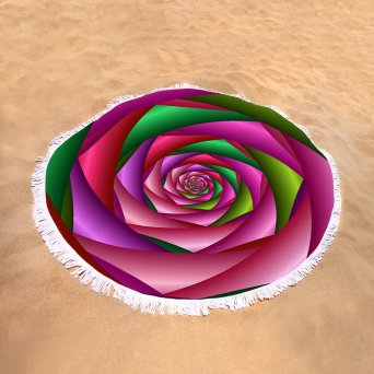 Rose Spiral on Round Towel