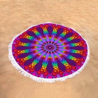Woven Rainbow Fractal Flower on Round Towel