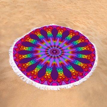 Woven Rainbow Fractal Flower on Round Towel