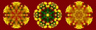 Red, Green, Gold Snowflake Trio