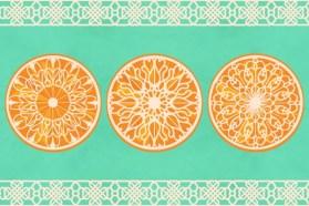 Three Lacy Oranges on Turquoise