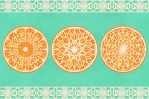 Three Lacy Oranges on Turquoise