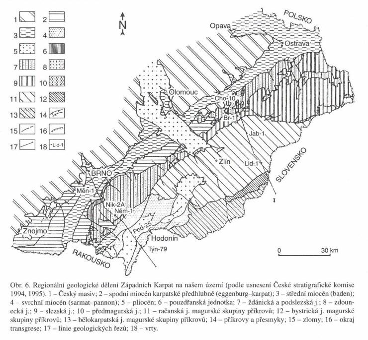 Regionální geologické dělení Západních Karpat.