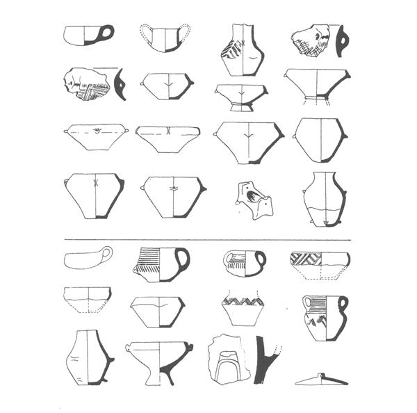 Keramické tvary staršího eneolitu ve středním Pomoraví.