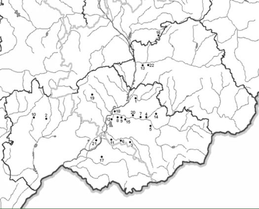 Naleziště s přítomností želiezovské keramiky na jihovýchodní Moravě.