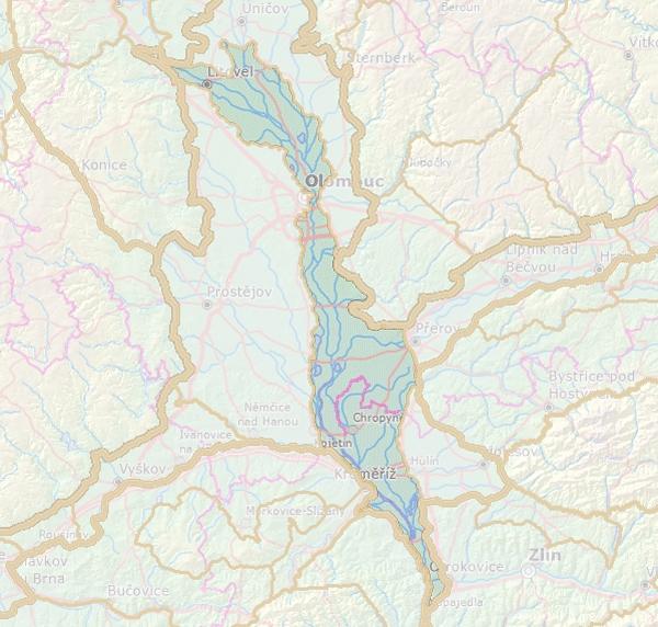 Geomorfologické rozdělení Středomoravské nivy.