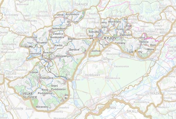 Geomorfologické rozdělení Mutěnické pahorkatiny.