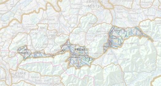 Geomorfologické rozdělení Frenštátské brázdy.