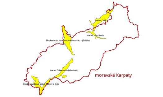 Prioritní svrchní hydrogeologické rajony na území moravských Karpat.