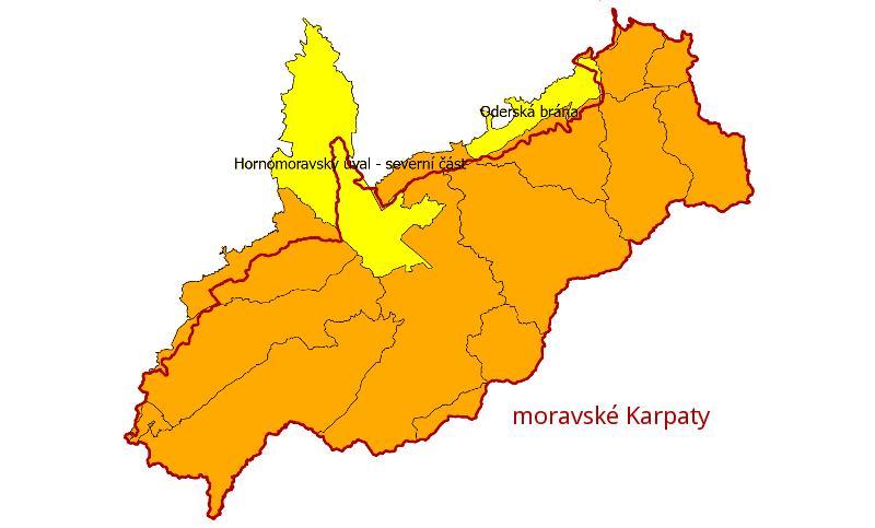 Prioritní základní hydrogeologické rajony na území moravských Karpat.
