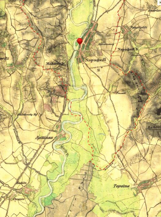 Pohled na nezregulovanou řeku Moravu pod Napajedly. Výřez z mapy II. vojenskéhomapování (zdroj: mapy.cz).