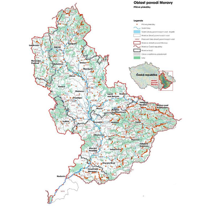 Příčné překážky na tocích v povodí Moravy (zdroj: http://www.pmo.cz/pop/2009/Morava/End/b-uzivani/mapy/mb_1_1i.jpg).