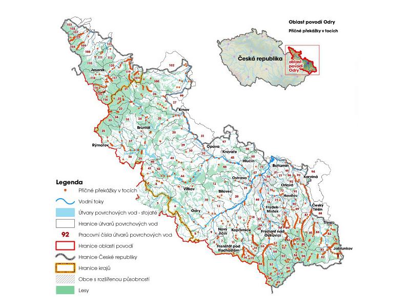 Příčné překážky na tocích v povodí Odry (zdroj: http://www.pod.cz/plan-oblasti-povodi-Odry/b-uzivani/mapy/mb_1_1k.jpg).