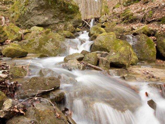 Vodopády na říčce Bystřičce se vytvořily díky obrovským blokovým sesuvům hornin v sevřeném údolí mezi PR Smrdutá a PP Bludný.