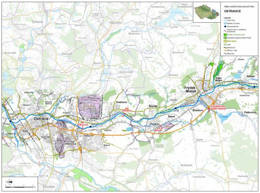Mapa: spodní tok Ostravice (zdroj: Atlas hlavních vodních toků povodí Odry, https://www.pod.cz/atlas_toku/ostravice.html).