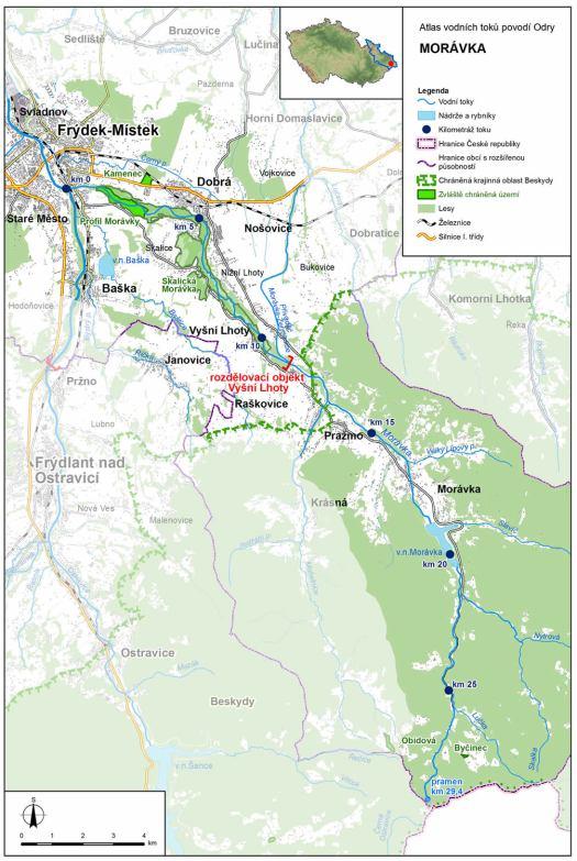 Mapa: tok Morávky (zdroj: Atlas hlavních vodních toků povodí Odry, https://www.pod.cz/atlas_toku/moravka.html).