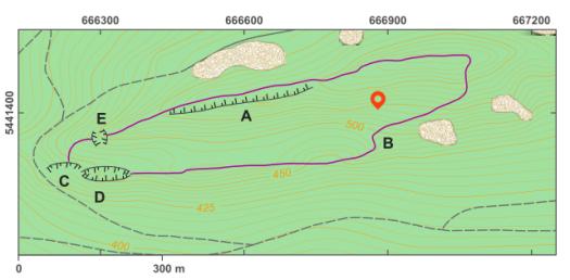 Schéma lokality Holý kopec.